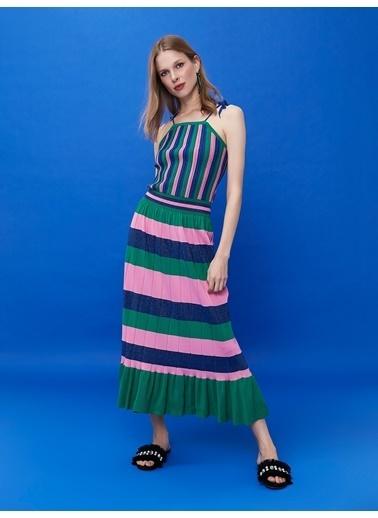 Ipekyol İp Askılı Çizgili Uzun Örme Elbise Yeşil
